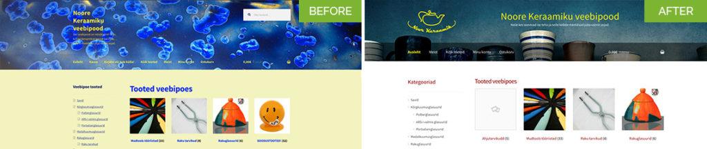 Website Design - Before and After for Noor Keraamik